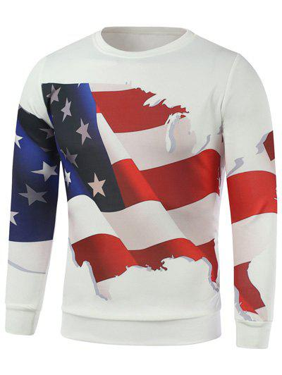3D American Flag Print Long Sleeve Sweatshirt - White M