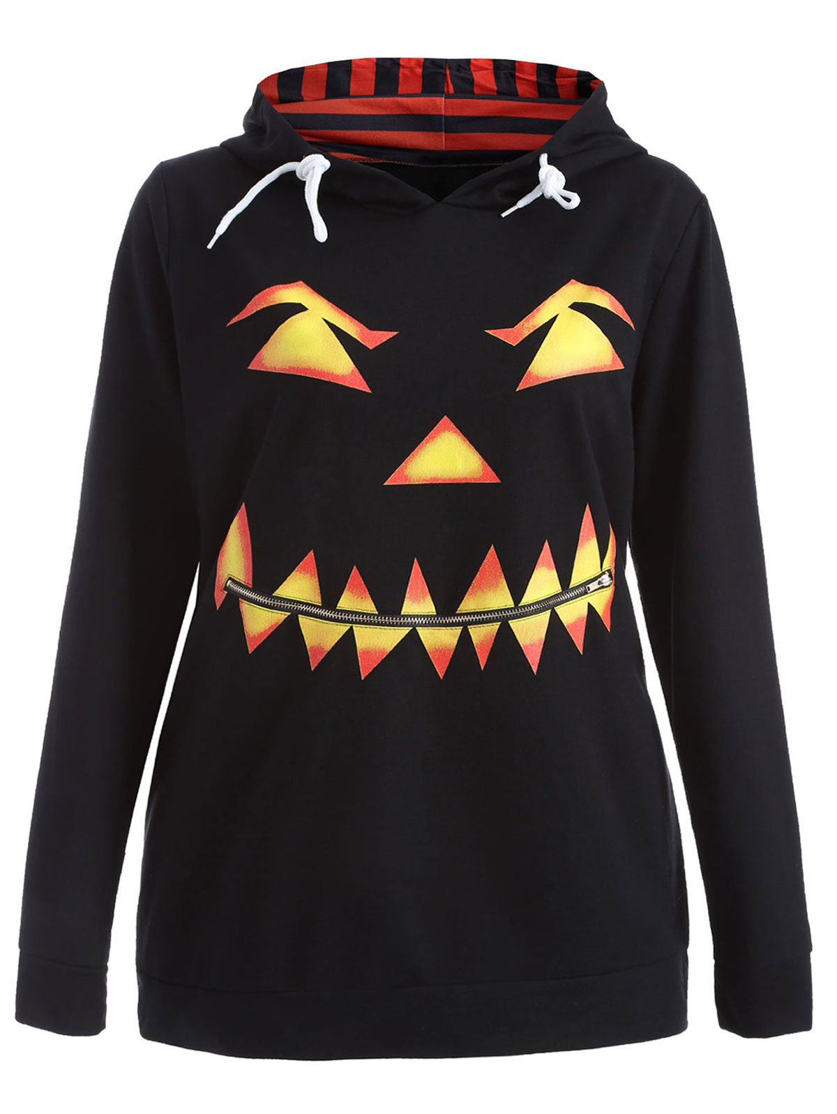 Hot Plus Size Long Sleeve Pumpkin Print Halloween Hoodie