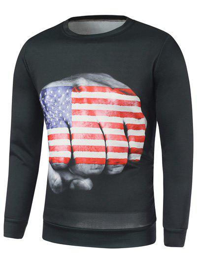Unique American Flag Fist Print Long Sleeve Sweatshirt