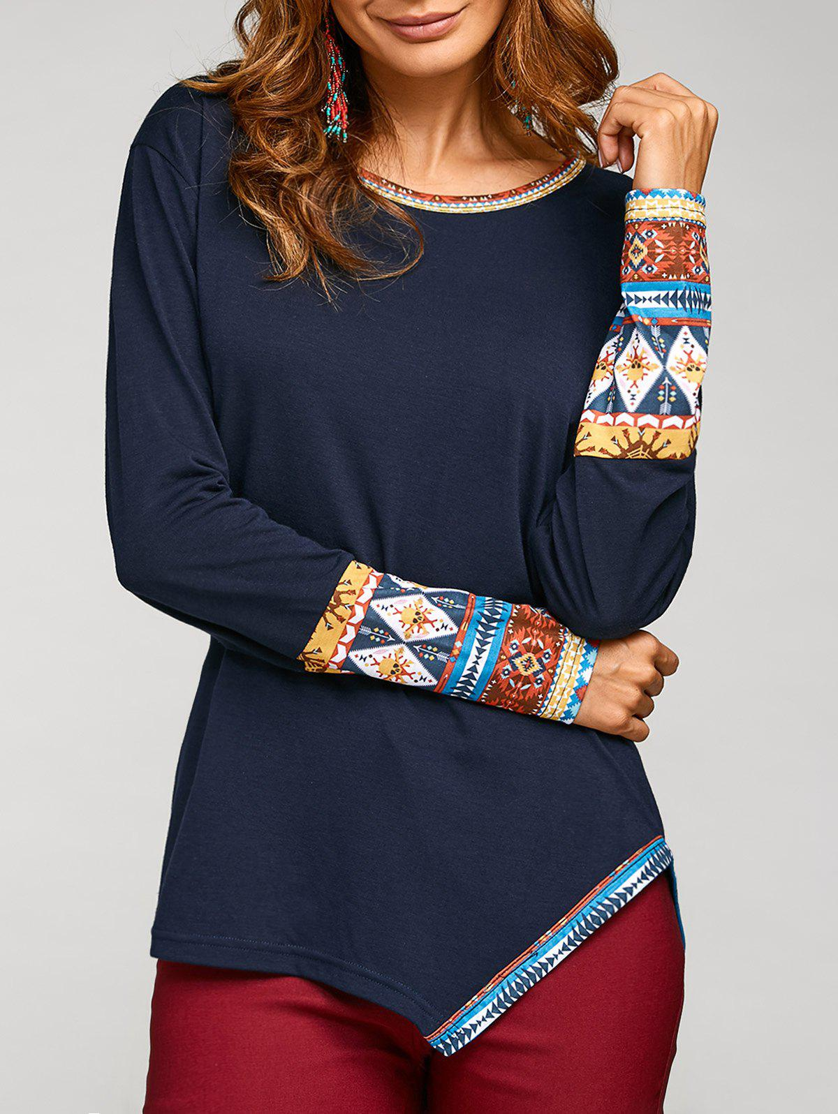 Buy Long Sleeve Tribal Print Asymmetric T-Shirt
