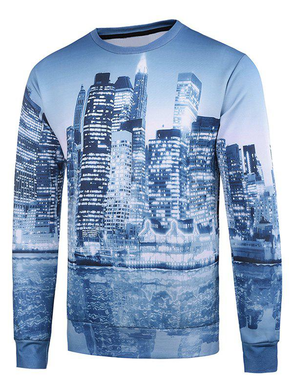 Fancy Crew Neck 3D Buildings Printed Long Sleeve Sweatshirt
