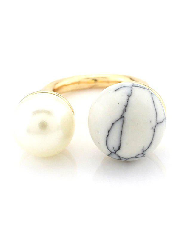 Online Faux Pearl Bead Openwork Engagement Ring