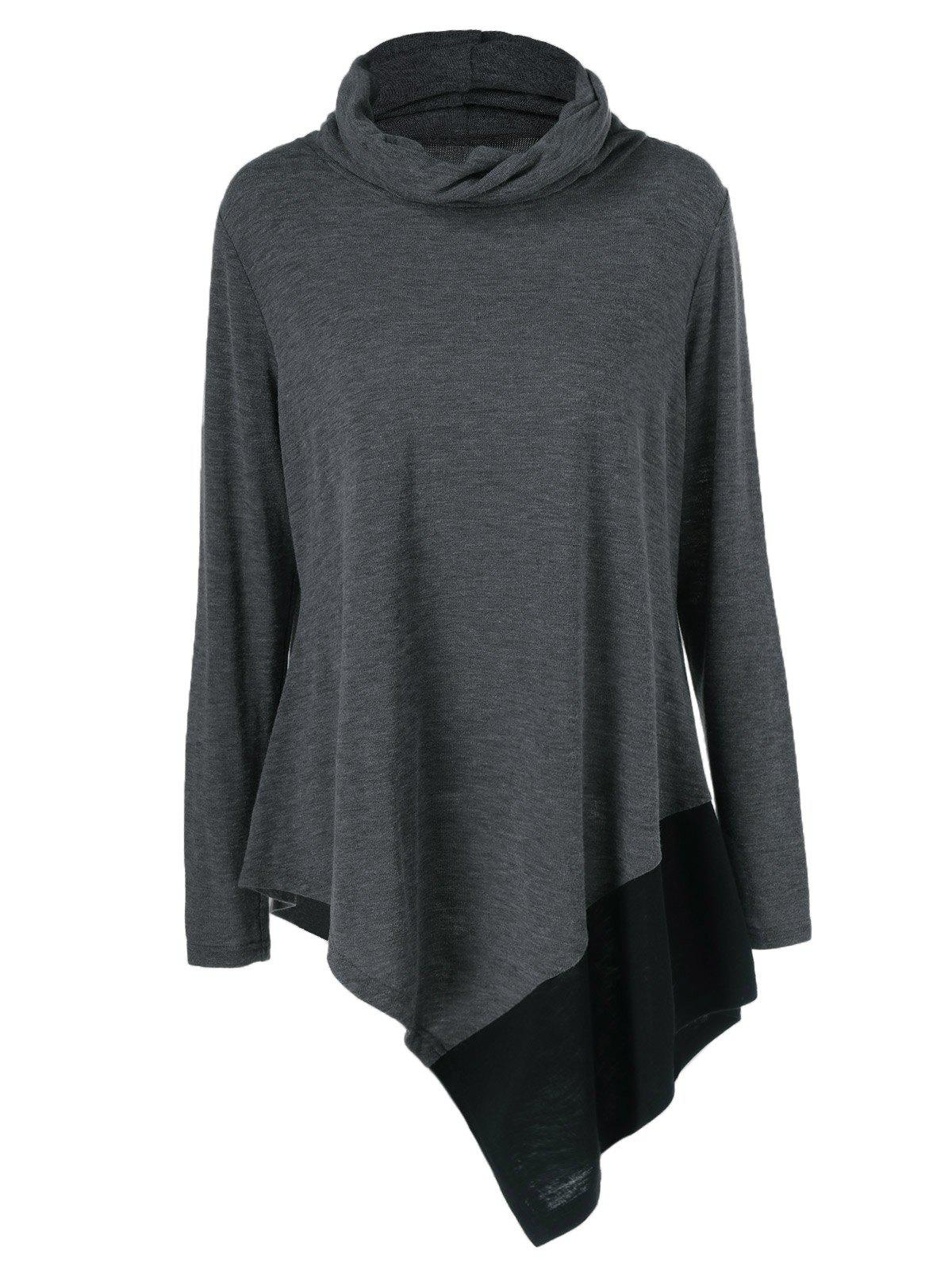 Plus Size Cowl Neck Asymmetrical PulloverWOMEN<br><br>Size: 2XL; Color: BLACK GREY; Material: Cotton Blends,Polyester,Spandex; Shirt Length: Long; Sleeve Length: Full; Collar: Cowl Neck; Style: Casual; Season: Fall,Spring; Pattern Type: Patchwork; Weight: 0.380kg; Package Contents: 1 x Pullover;