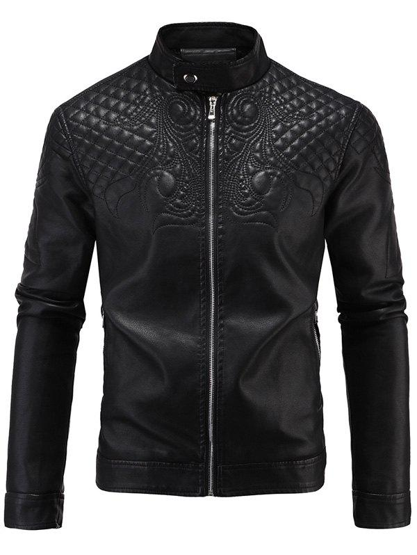 Brodé en molleton PU-cuir Zip-Up Jacket Noir 4XL
