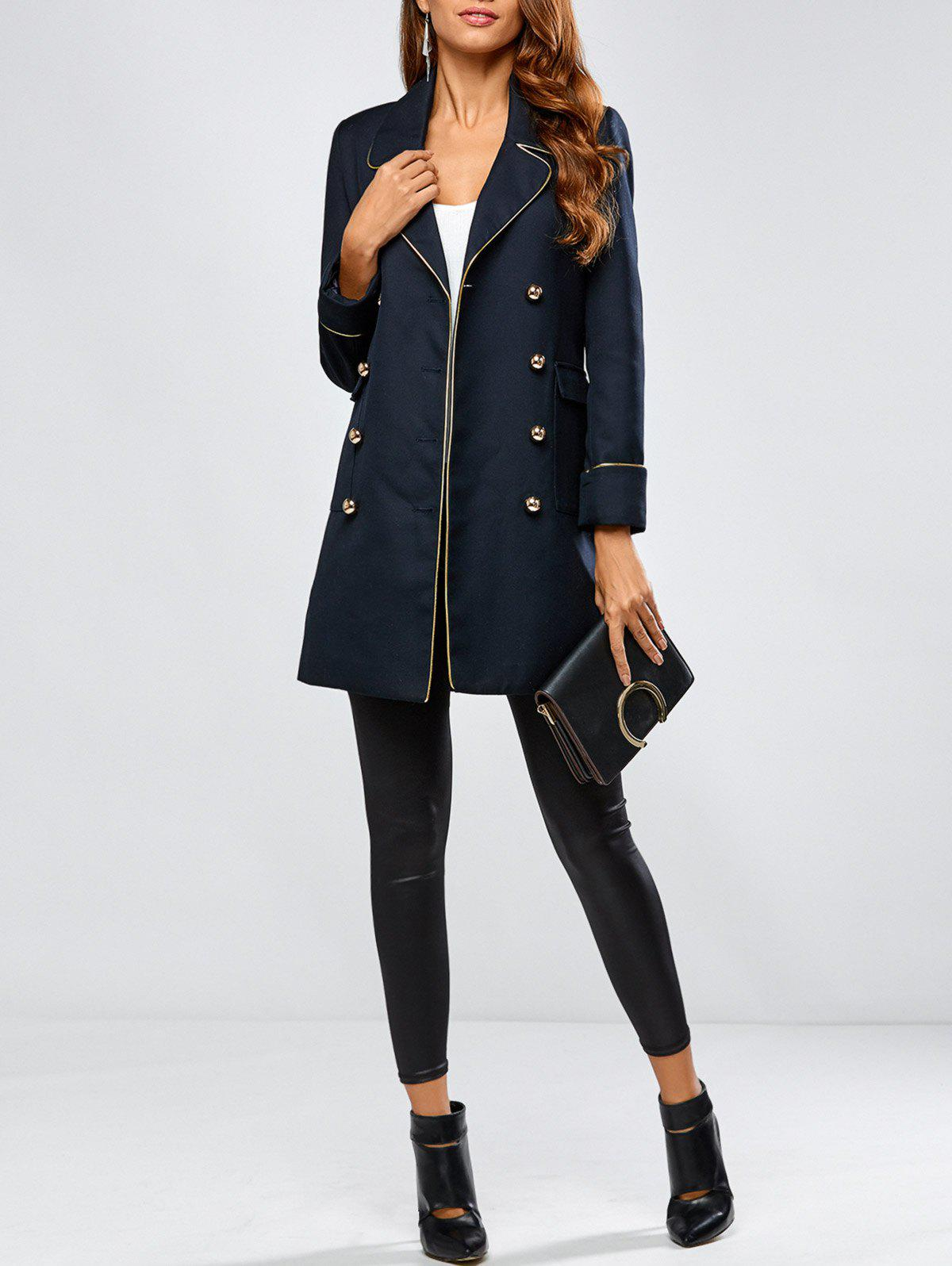 Shops Contrast-Trim Double-Breasted Longline Blazer
