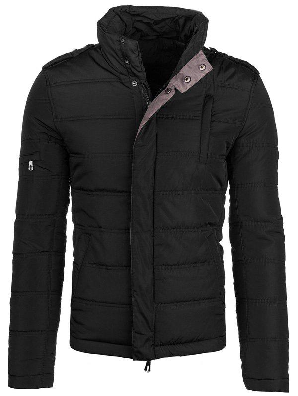 Epaulet design Elbow Patch Zip-Up Veste matelassée Noir 5XL