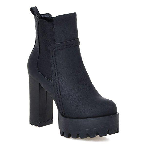 Hot Platform Elastic Band Chunky Heel Ankle Boots