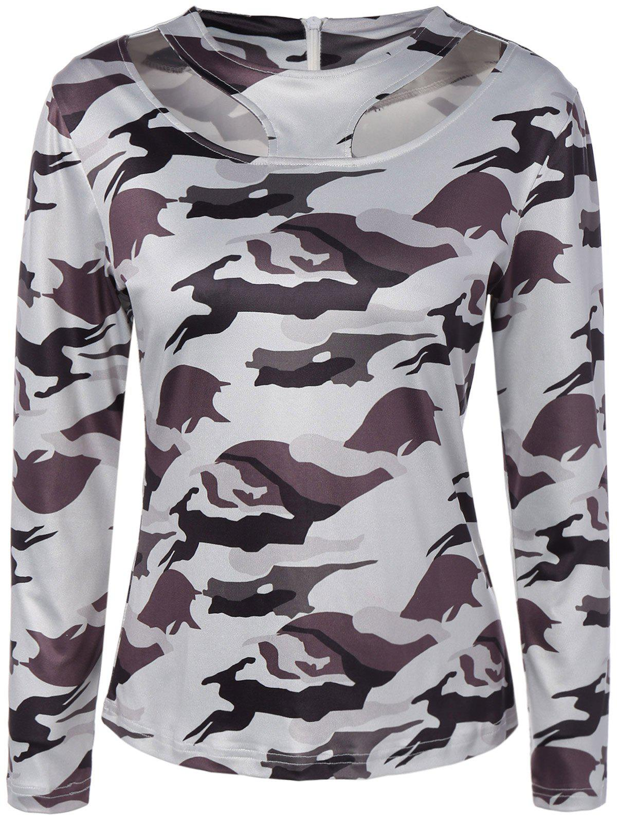 Hot Jewel Neck Cut Out Camouflage T-Shirt