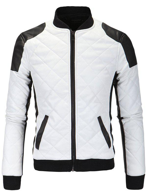 Trendy Color Block Splicing Argyle Zip-Up Cotton-Padded PU-Leather Jacket
