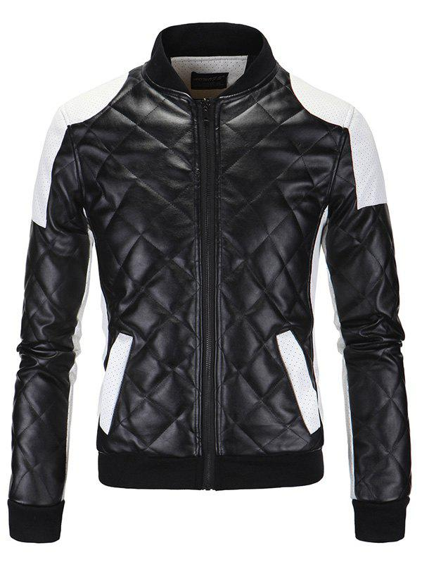 Color Bloc Épissage Argyle Zip-Up Coton-Rembourré Pu-Veste En Cuir