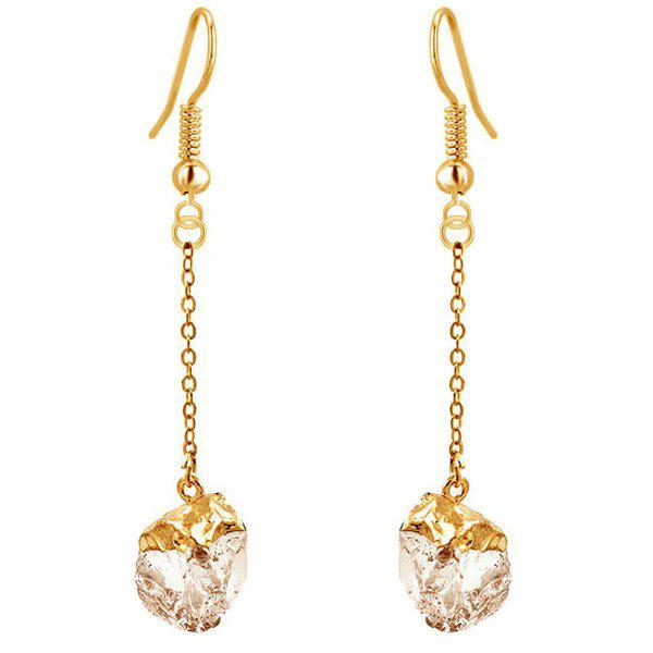 Chic Faux Gem Gold Plated Dangle Earrings