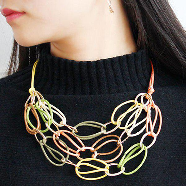Affordable PU Leather Woven Interlace Necklace Set