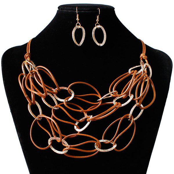 PU Leather Woven Interlace Necklace SetJEWELRY<br><br>Color: DARK AUBURN; Item Type: Fake collar Necklace; Gender: For Women; Metal Type: Alloy; Style: Trendy; Shape/Pattern: Geometric; Weight: 0.030kg; Package Contents: 1 x Necklace 1 x Earrings(Pair);