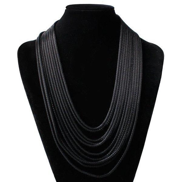 Layered Alloy Chain NecklaceJEWELRY<br><br>Color: GUN METAL; Item Type: Pendant Necklace; Gender: For Women; Necklace Type: Wheat Chain; Metal Type: Alloy; Style: Hipster; Shape/Pattern: Others; Weight: 0.100kg; Package Contents: 1 x Necklace;