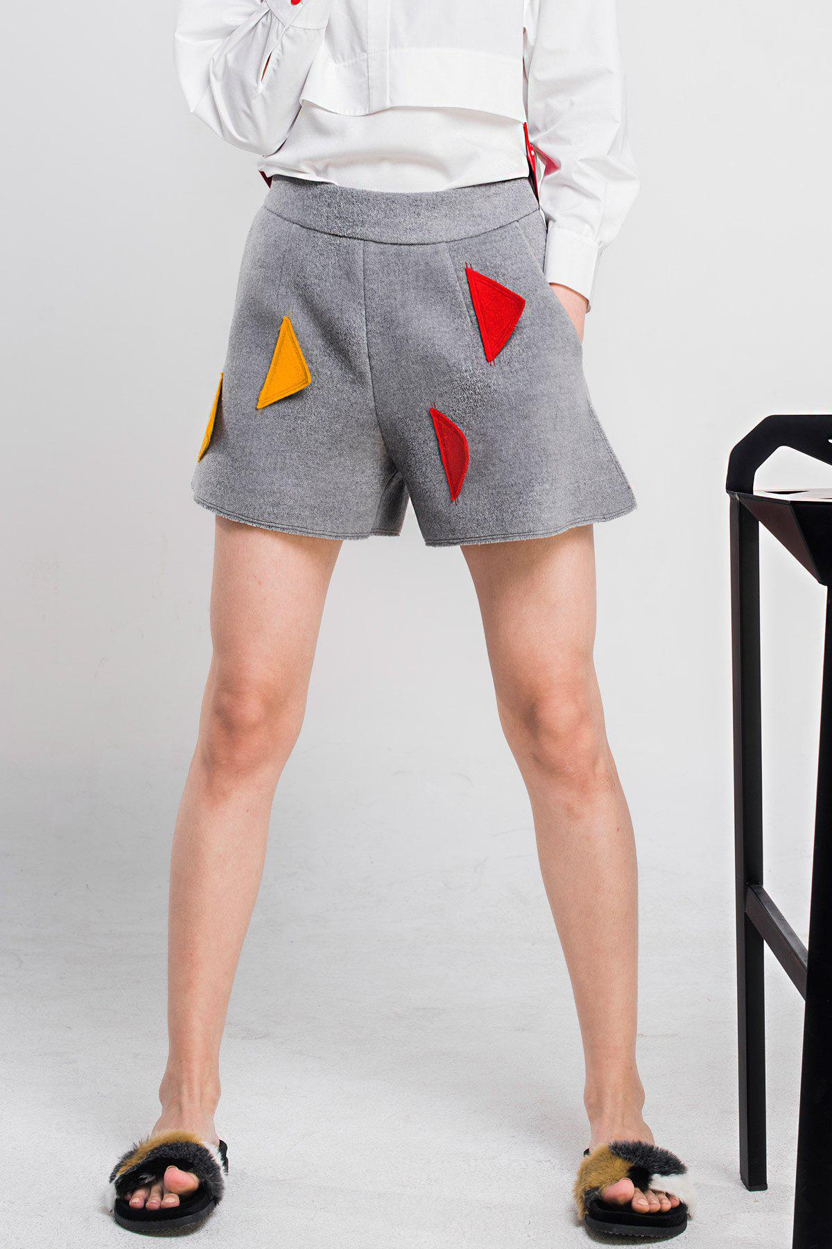 Sale Woool Blend Patched Shorts