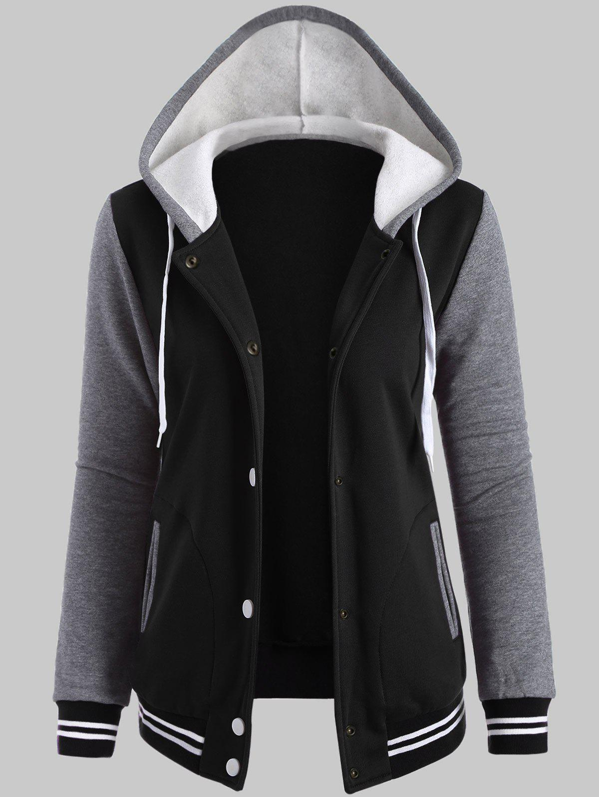 Plus Size Fleece Baseball Jacket with HoodWOMEN<br><br>Size: 2XL; Color: BLACK; Clothes Type: Jackets; Material: Cotton; Type: Wide-waisted; Shirt Length: Regular; Sleeve Length: Full; Collar: Hooded; Pattern Type: Striped; Embellishment: Pockets; Style: Active; Season: Fall,Spring,Winter; Weight: 0.5700kg; Package Contents: 1 x Jacket;