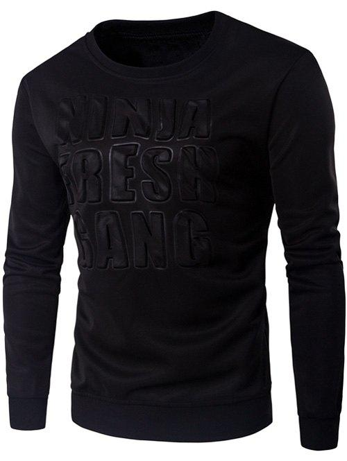 Crew Neck 3D Graphic Emboss Long Sleeve SweatshirtMEN<br><br>Size: M; Color: BLACK; Material: Cotton,Polyester; Shirt Length: Regular; Sleeve Length: Full; Style: Fashion; Weight: 0.3400kg; Package Contents: 1 x Sweatshirt;