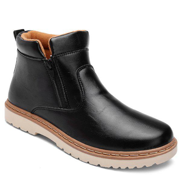 Chic Double Zips PU Leather Ankle Boots