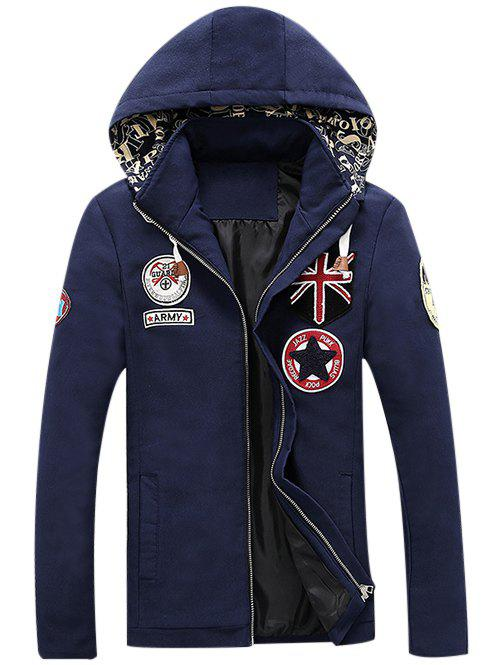Veste multi Applique design Zip-Up Hooded Bleu profond M