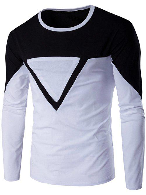 Cheap Crew Neck Color Block Triangle Applique Long Sleeve T-Shirt