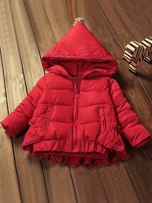Fancy Zip Front Hooded Lace-Trim Padded Coat
