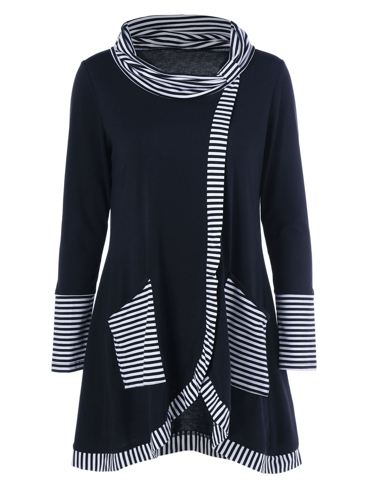 Pinstriped Patchwork Pockets Design TeeWOMEN<br><br>Size: M; Color: BLACK; Material: Polyester; Sleeve Length: Full; Collar: Cowl Neck; Style: Casual; Pattern Type: Striped; Season: Fall,Spring; Weight: 0.380kg; Package Contents: 1 x Tee;