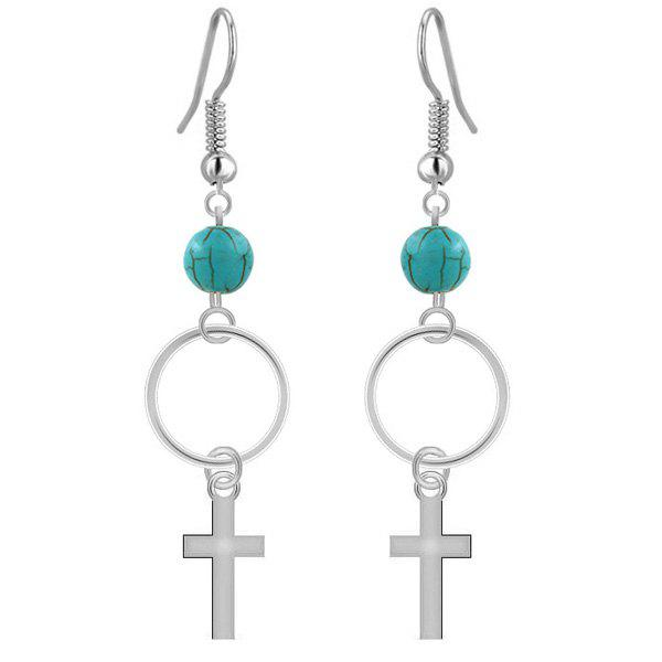 Cross Faux Turquoise Bead Dangle Drop EarringsJEWELRY<br><br>Color: SILVER; Earring Type: Drop Earrings; Gender: For Women; Metal Type: Alloy; Style: Trendy; Shape/Pattern: Geometric; Length: 7.5CM; Weight: 0.026kg; Package Contents: 1 x Earrings (Pair);