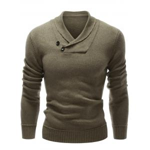 Shawl Collar Button Embellished Pullover Sweater - Olive Green - S