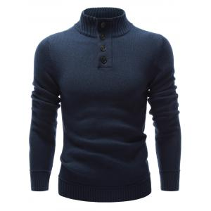 High Neck Button Embellished Pullover Sweater - Purplish Blue - S