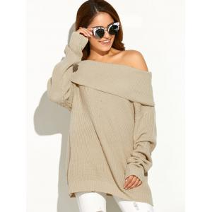 Drop Shoulder Ribbed Cowl Neck Sweater - Apricot - One Size
