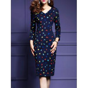 Sheath Knee Length Print Work Dress