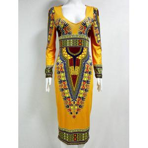 Tribal Printed  Fitted Plunge Indian Dress