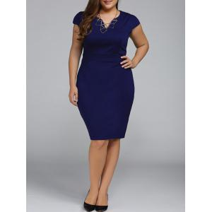Plus Size Cap Sleeve Sheath Work Christmas Party Dress