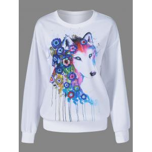 Fox Pattern Drop Shoulder Sweatshirt