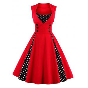 Polka Dot Retro Corset A Line Dress - Red - 4xl