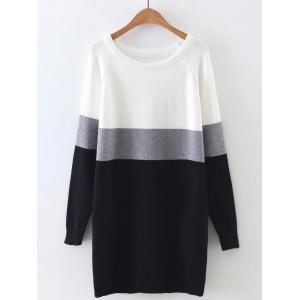 Long Sleeve Color Block Mini Sweater Dress - Gray - One Size