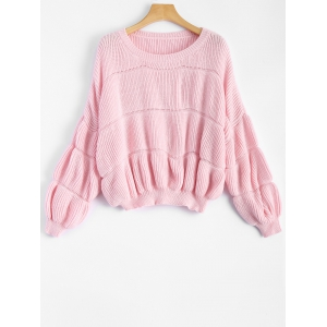 Drop Shoulder Ribbed Pullover Sweater - Pink - One Size