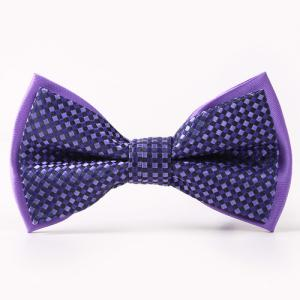 Small Tartans Pattern Double-Deck Bow Tie - Purple - S