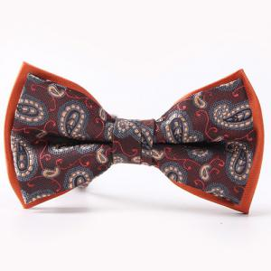 Ethnic Style Pattern Double-Deck Bow Tie - Orange Red - S