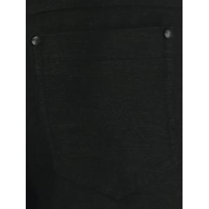 Pocket Rivet Zipper Fly Texture Skinny Chino Pants - BLACK 37