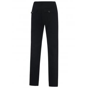 Zipper Fly Straight Leg Casual Chino Pants - BLACK 42