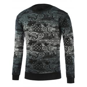 Paisley Pattern Ombre Crew Neck Knitwear - Blackish Green - L