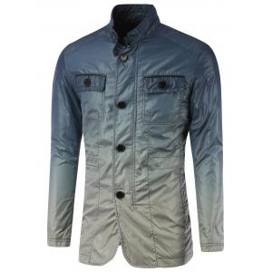 Stand Collar Pockets Front Button Up Ombre Jacket