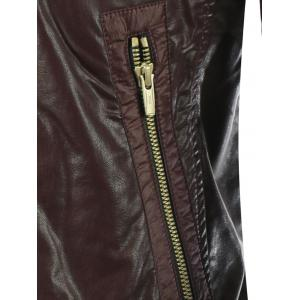 Shirred Stand Collar Zippered Faux Leather Jacket - BROWN 2XL