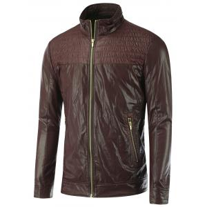 Shirred Stand Collar Zippered Faux Leather Jacket - Brown - L