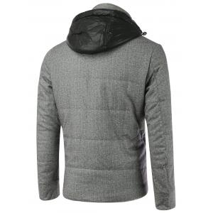Button Embellished Zippered Hooded Texture Padded Jacket - GRAY 2XL