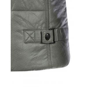 Pocket Design Zippered Buckled Texture Padded Jacket - GRAY 2XL