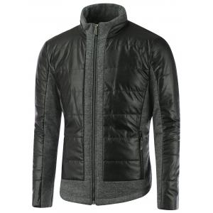 Stand Collar Zippered Faux Leather Insert Jacket