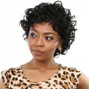 Vogue Short Shaggy Curly Side Bang Synthetic Wig - BLACK