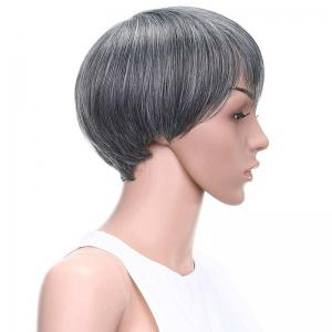 Graceful Short Side Bang Straight Mixed Color Synthetic Hair Wig -